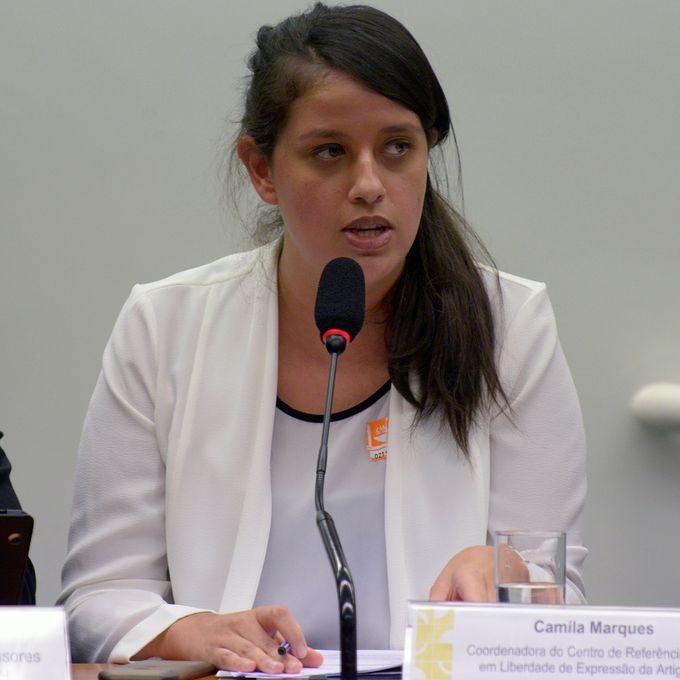 Audiência Pública e Reunião Ordinária. Coordenadora do Centro de Referência Legal em Liberdade de Expressão e Acesso à Informação da ARTIGO 19, Camila Marques