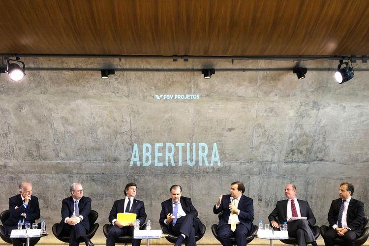 Câmara - presidente Rodrigo Maia - evento na FGV, Rio, 18/03