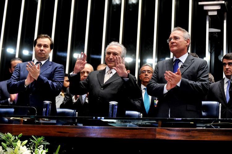 Sessão solene do Congresso Nacional destinada a dar posse ao vice-presidente Michel Temer como presidente da República após o afastamento definitivo de Dilma Rousseff da Presidência