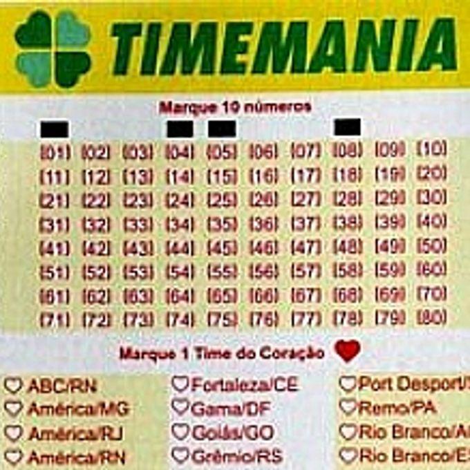 Esporte - Geral - Loterias - Bilhete de jogo - Timemania