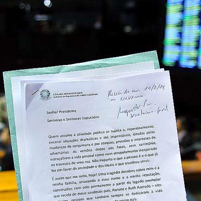 Carta de Renúncia do dep. Eduardo Azeredo (PSDB-MG)