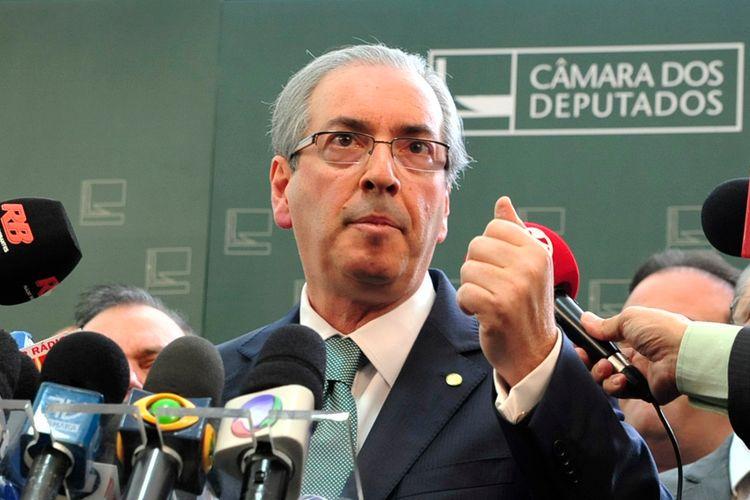 Presidente da Câmara dos Deputados Eduardo Cunha (PMDB-RJ), durante coletiva fala sobre denúncias na operação Lava Jato
