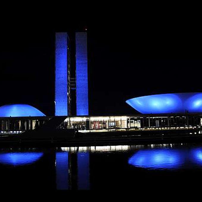 Inauguração da Iluminação Azul do Palácio Do Congresso Nacional